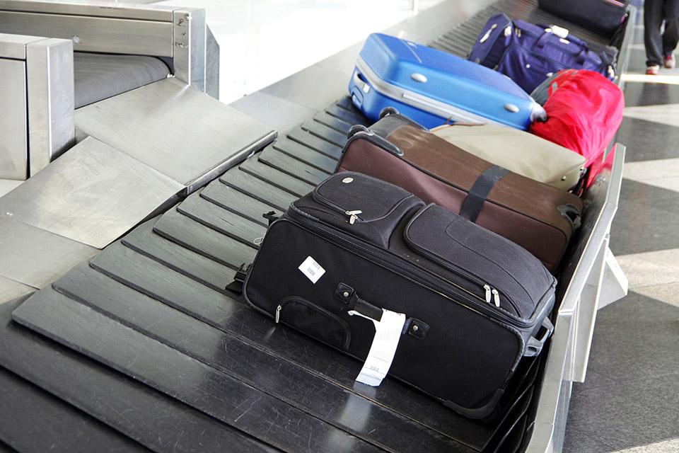baggage on conveyor