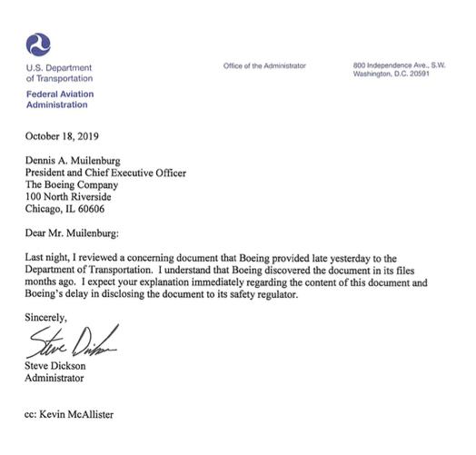 Carta FAA Steve Dickson Boeing 737 MAX