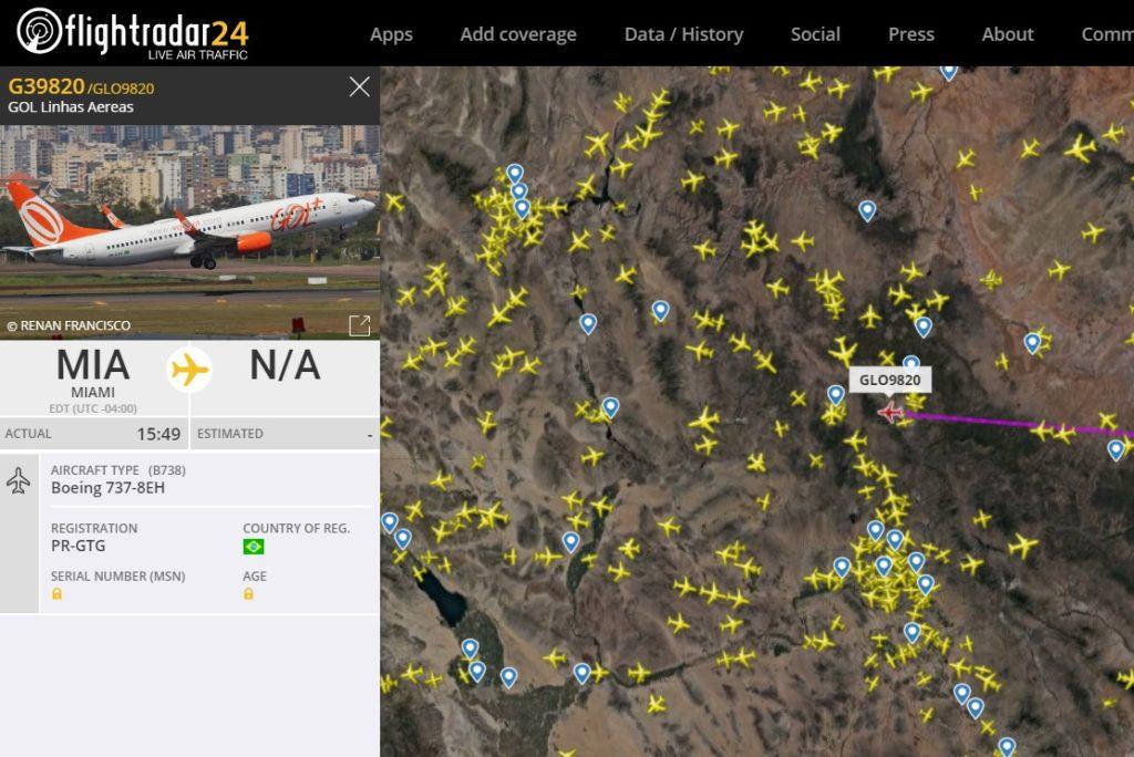 FlightRadar24 Gol9820 Voo 737NG Pickle Fork