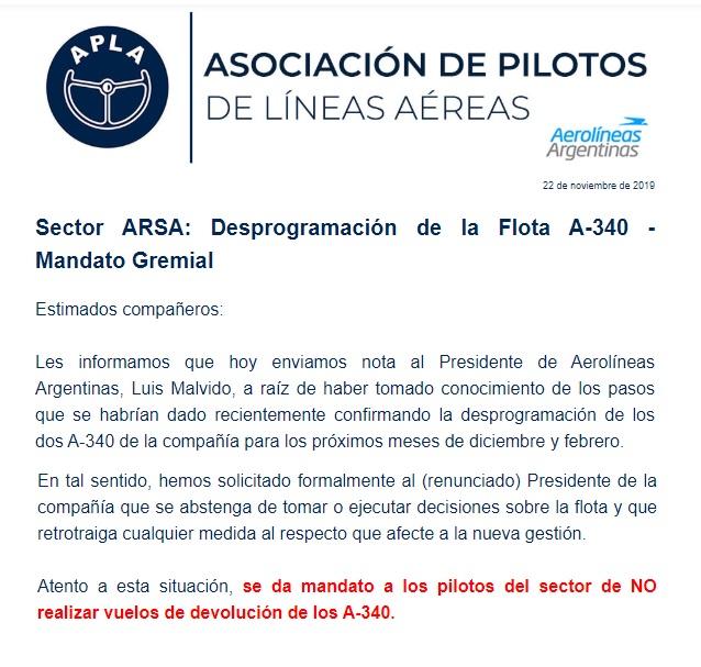 Aerolíneas Argentinas comunicado APLA A340 01