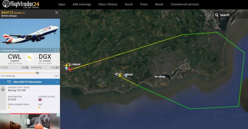 Flight Radar 24 Voo BA9172 Cardiff St. Athan British 747