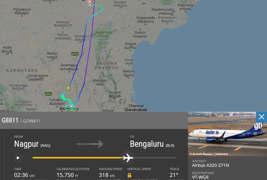 Flight Radar 24 Voo G8811 GoAir Pouso Terra Grama