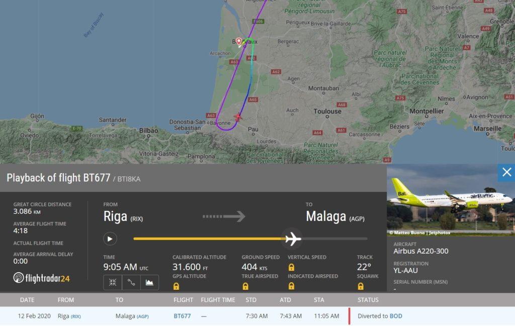FlightRadar24 Falha Motor Desvio Bordeaux