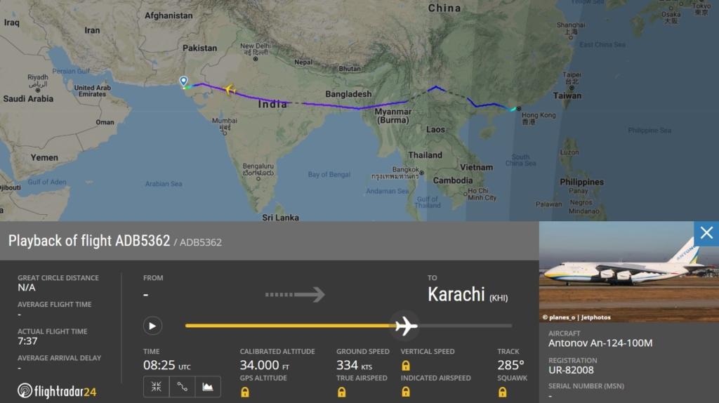 FlightRadar24 Voo Antonov AN-124 Paquistão Máscaras