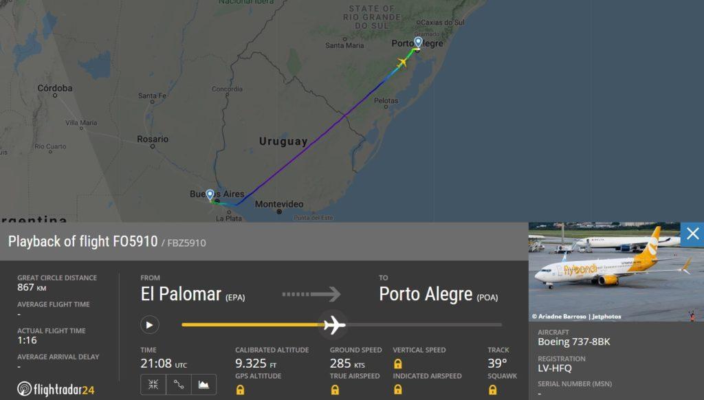 Voo estreia Flybondi Porto Alegre FlightRadar24