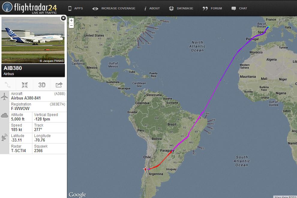 Imagem do FlightRadar24 mostra a rota do A380 até a FIDAE