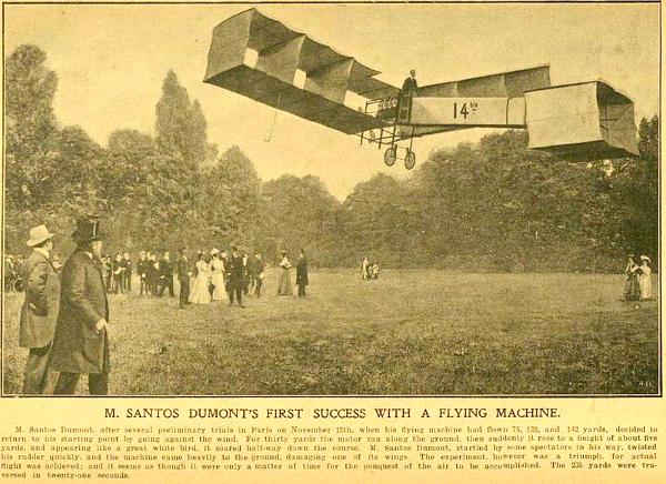 A repercussão em um jornal da época relatando os recordes do voo.