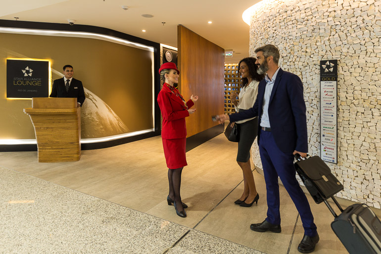 Guests being welcomed to the new Star Alliance Lounge in Rio de Janeiro