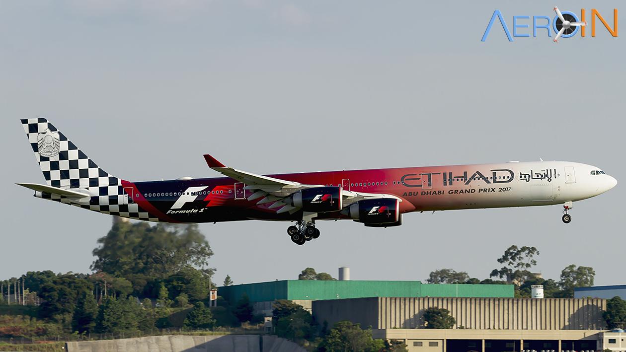Avião Airbus A340-600 Etihad Formula 1