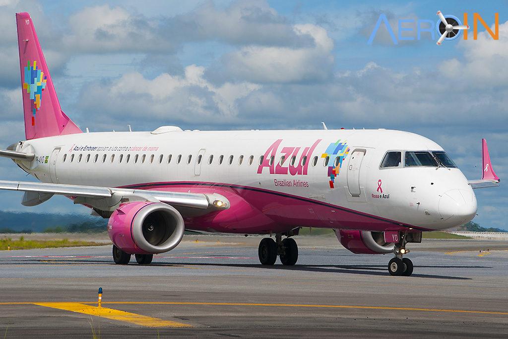 Avião Embraer E195 Azul Rosa