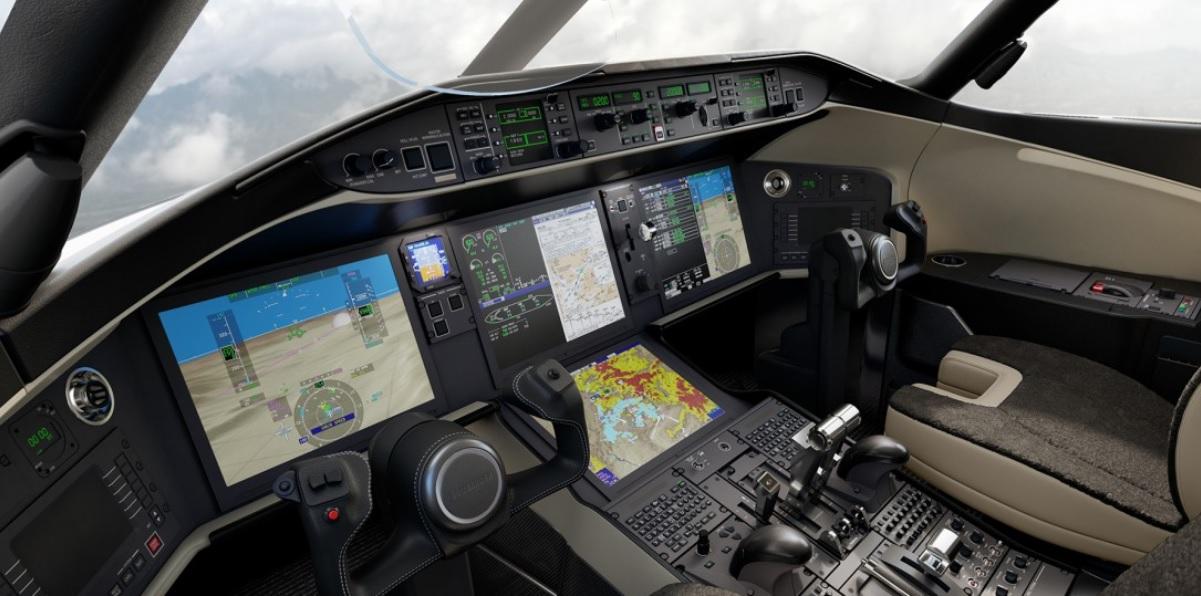 Cabine dos modelos Global 5500 e 6500 da Bombardier