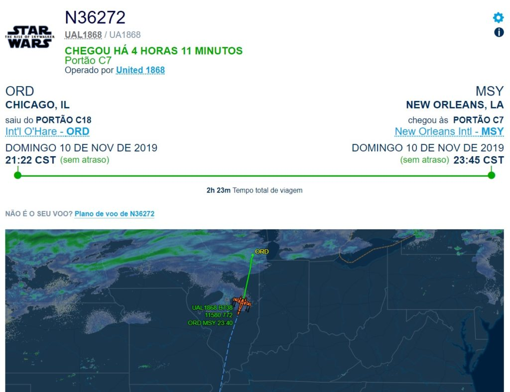 Flight Aware Voo United Nave Star Wars