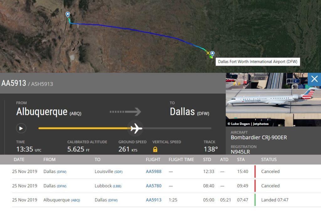 Flight Radar 24 Voo AA5913 Dallas Acidente Caminhão Combustível