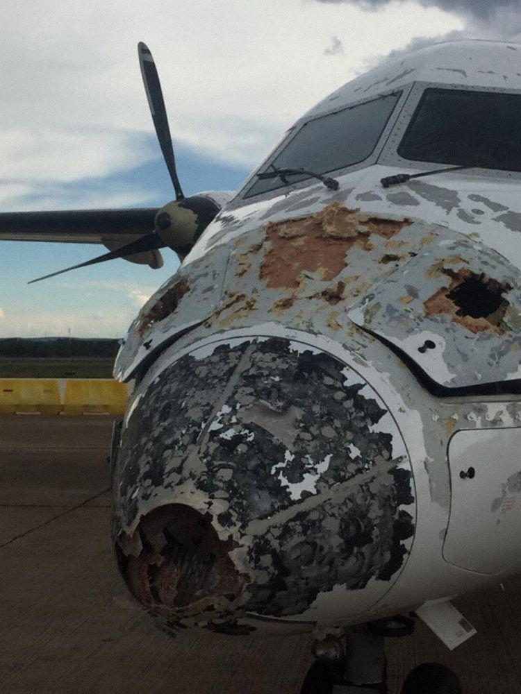 Incidente Tempestade Granizo Proflight Dash 8 Destruído
