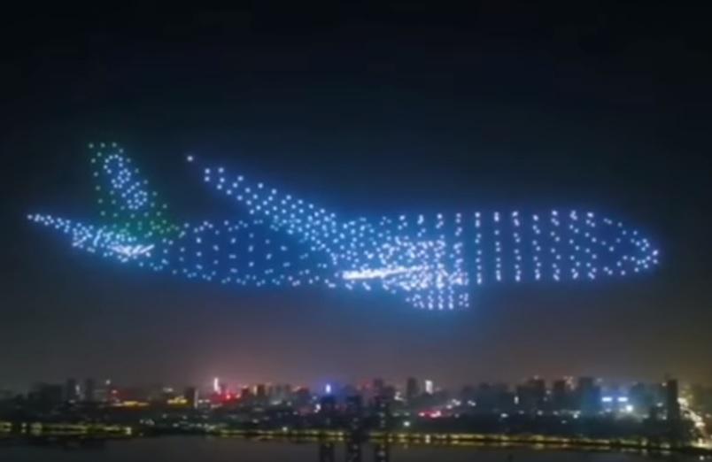 Aeronaves Avião Luzes Drones Céu Noturno