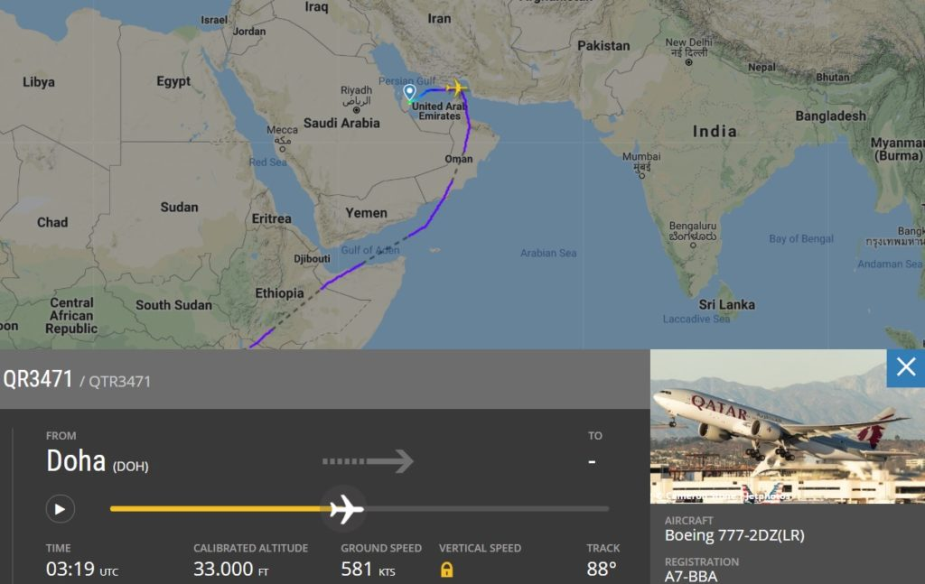 Flight Radar 24 Voo Qatar 777 levará Flamengo mundial