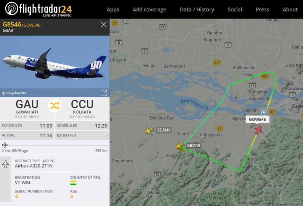 FlightRadar24 Voo GoAir Problema Motor