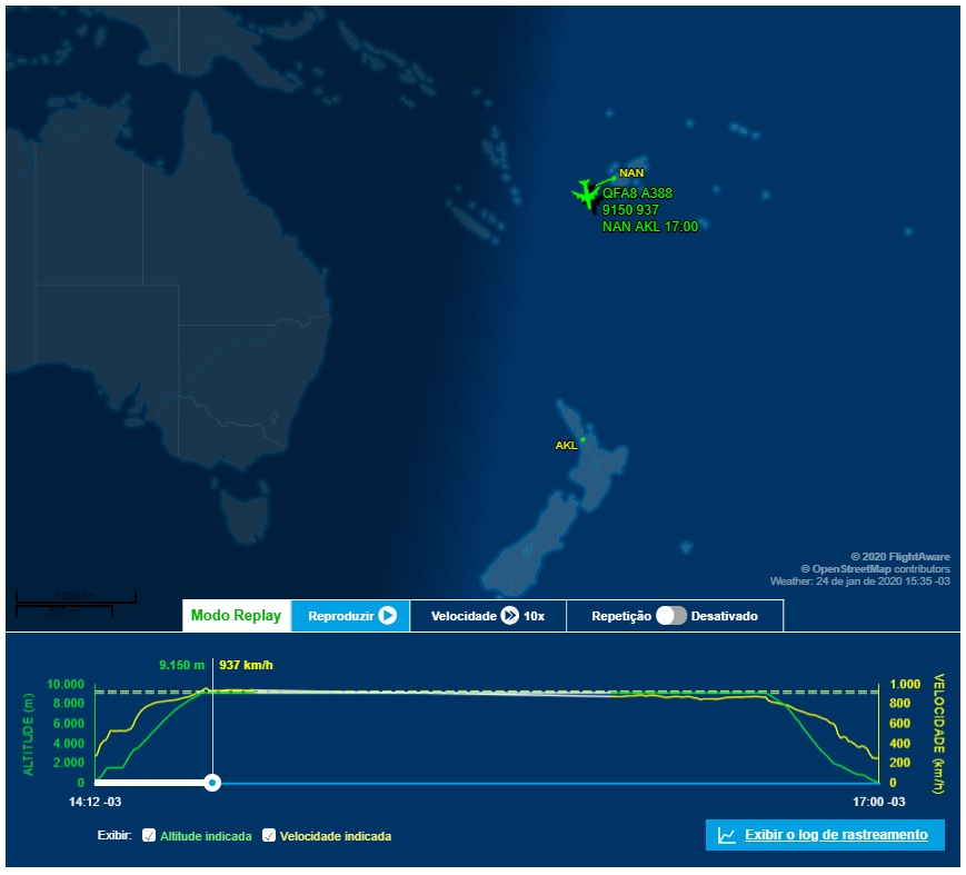 FlightAware Voo QF8 Qantas desvio A380 Aukland