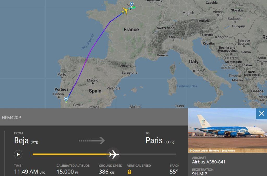 FlightRadar24 Voo A380 Hi Fly Coronavírus Europa