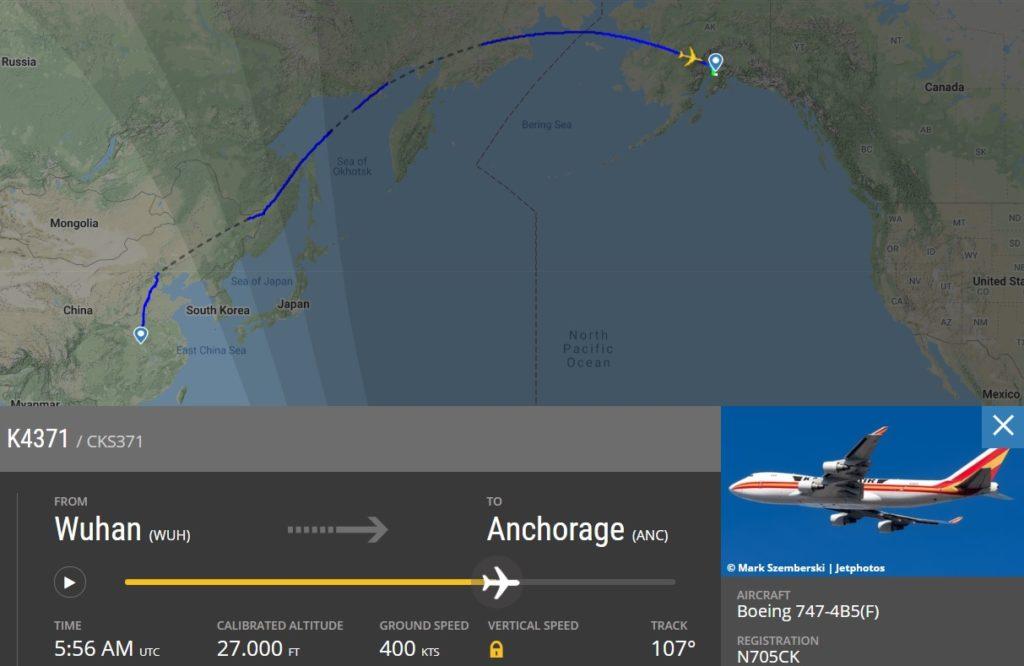 FlightRadar24 Voo Resgate Wuhan Kalitta EUA