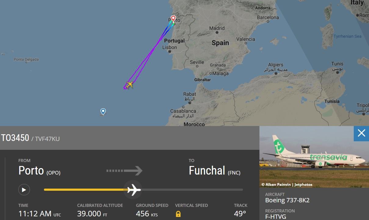 FlightRadar24 Voo Transavia Comandante Desmaiou