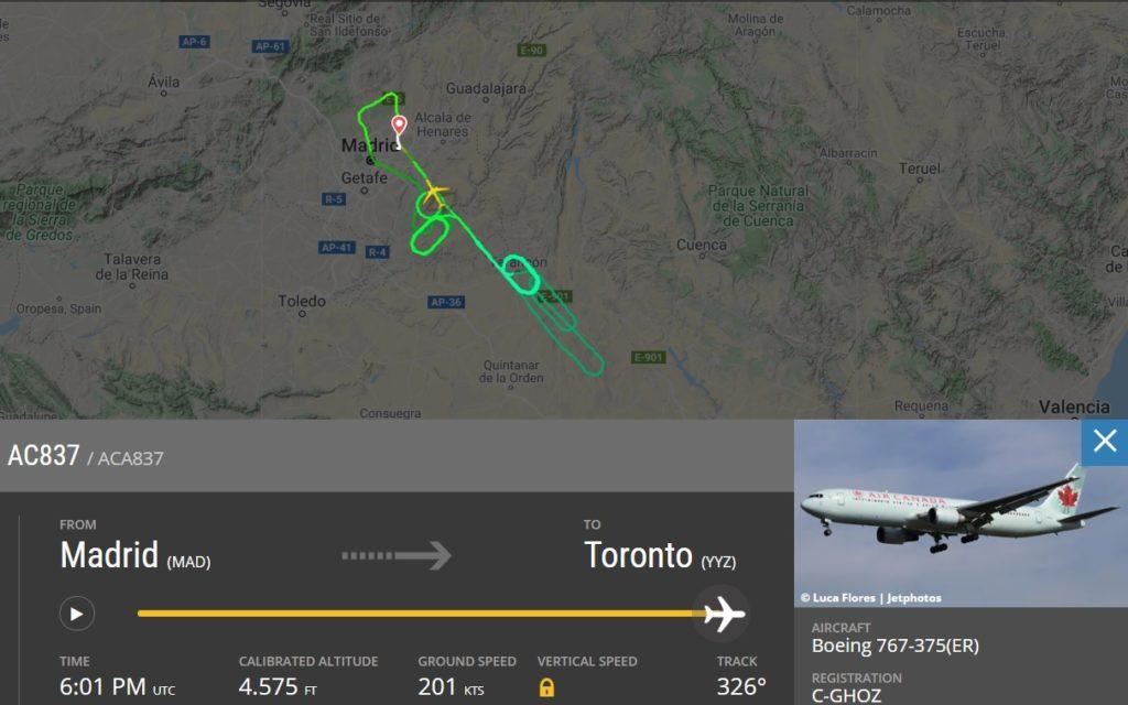 FlightRadar24 Emergência Trem de Pouso 767 Air Canada Madrid