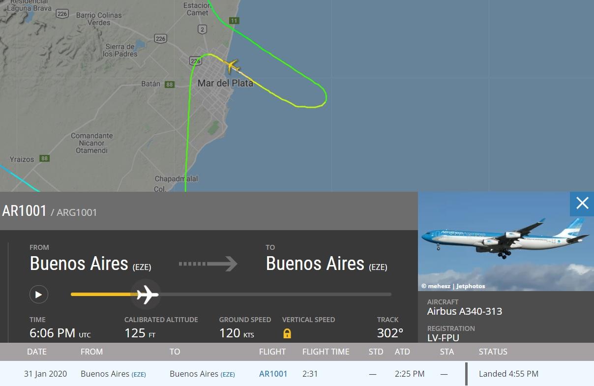 FlightRadar24 Rasante A340 Aerolíneas Mar del Plata