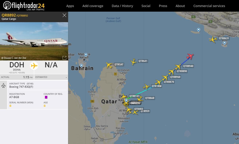 FlightRadar24 Voos Qatar Cargo China Coronavirus