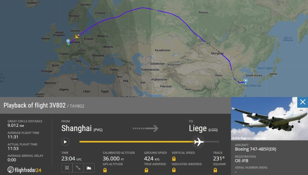 Voo Boeing 747 ASL Airlines Máscaras Liège
