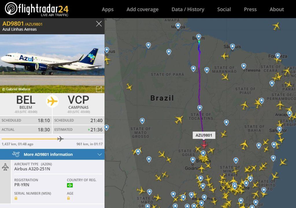 FlightRadar24 Voo AD9801 Translado A320neo