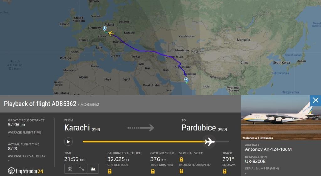FlightRadar24 Voo Antonov AN-124 República Tcheca Máscaras