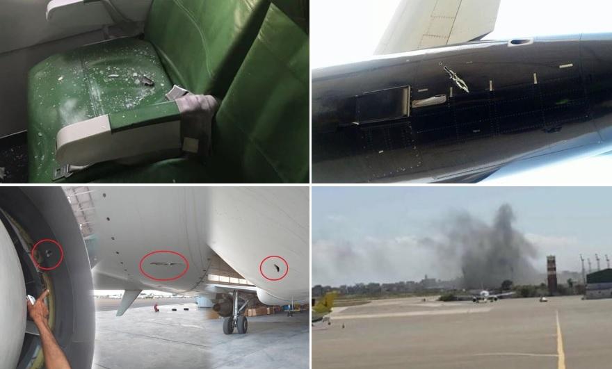 Aeronave danificada ataque míssil aeroporto Trípoli