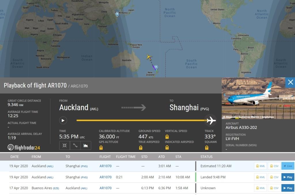 FlightRadar24 Voo Aerolínes Argentinas Xangai