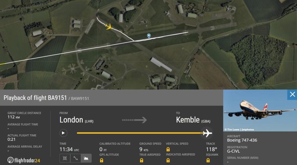 FlightRadar24 747-400 British Cotsworld Pushback