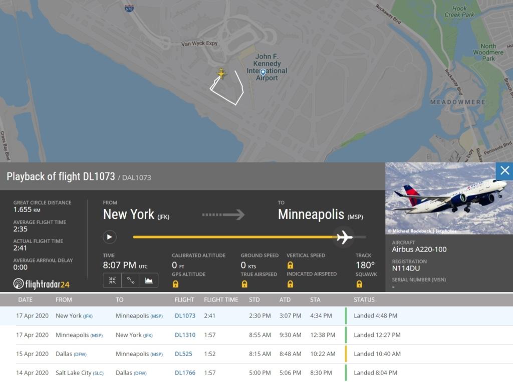 FlightRadar24 Voo A220-100 Delta Trinca Asa