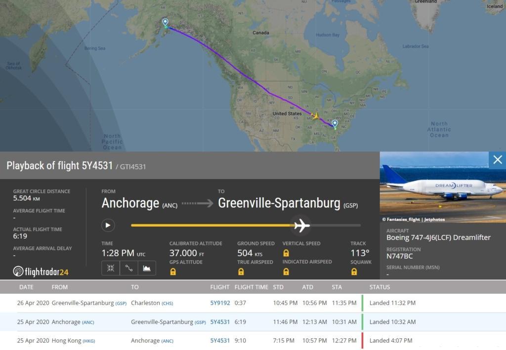FlightRadar24 Voo Atlas Boeing 747 Dreamlifter Máscaras COVID-19