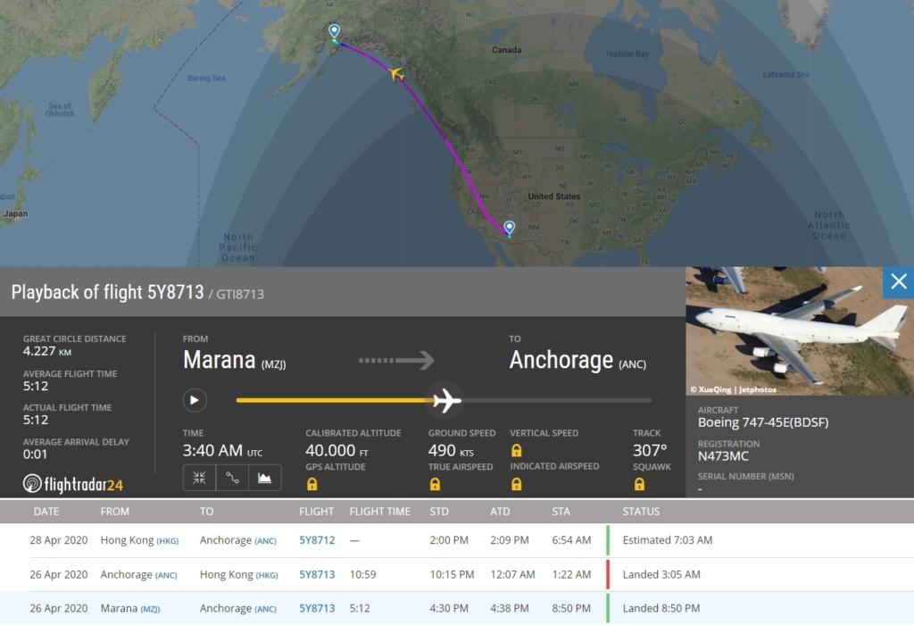 FlightRadar24 Voo 747 Jumbo Atlas Air