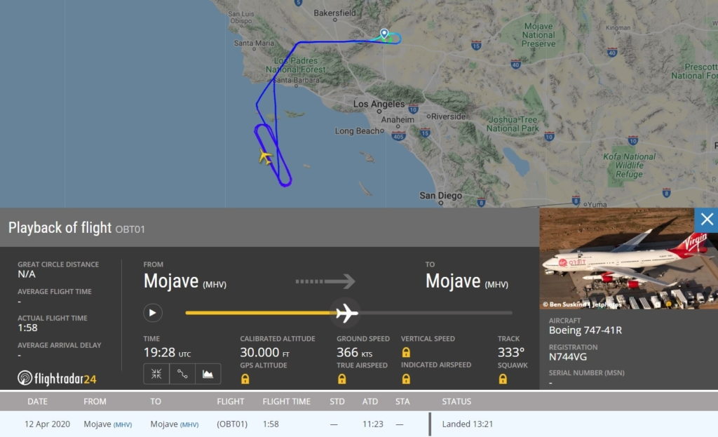 FlightRadar24 Voo Virgin Orbit 747 Teste Lançamento Foguete