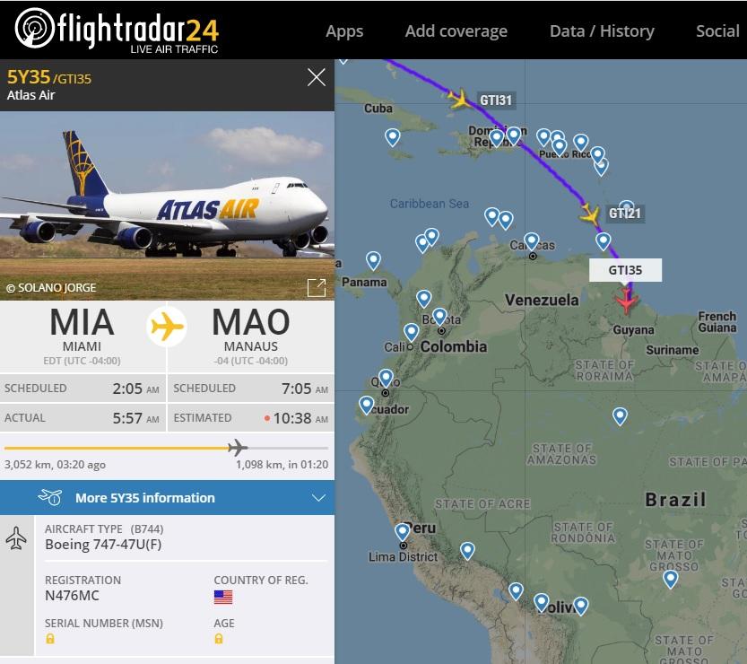 FlightRadar24 Voos 747 Atlas Air Brasil