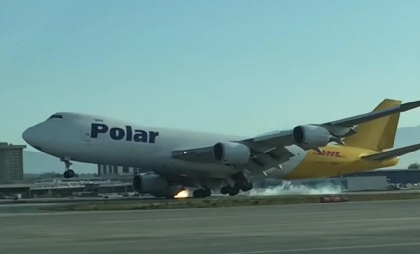 Vídeo Boeing 747-8F Polar impacto motor pista Los Angeles