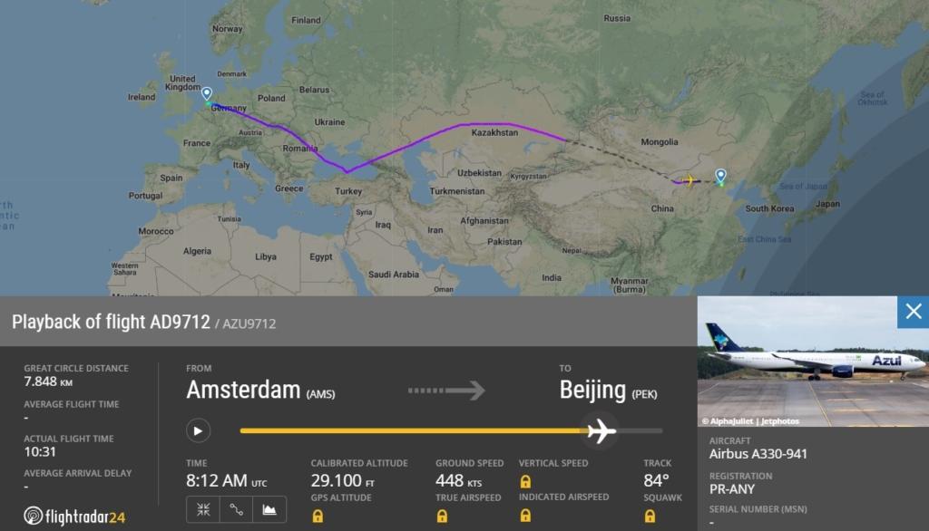 FlightRadar24 Voo Azul Amsterdã Pequim China