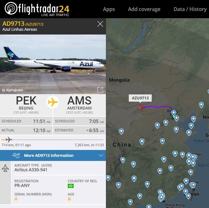 FlightRadar24 Voo Azul Retorno China Amsterdã
