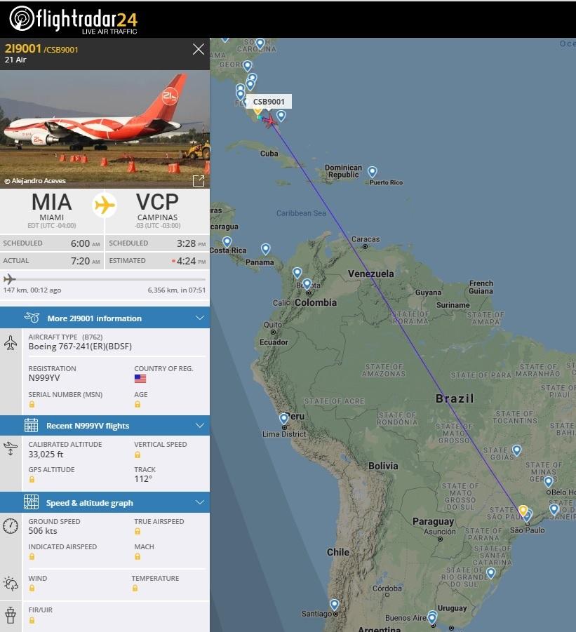 FlightRadar24 Voo 21 Air 767-200 ex-VARIG Viracopos