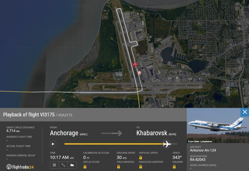 FlightRadar24 Voo Emergência Antonov AN-124 Anchorage