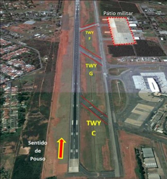 Vista aérea incidente 737 GOL C-95 FAB Brasília