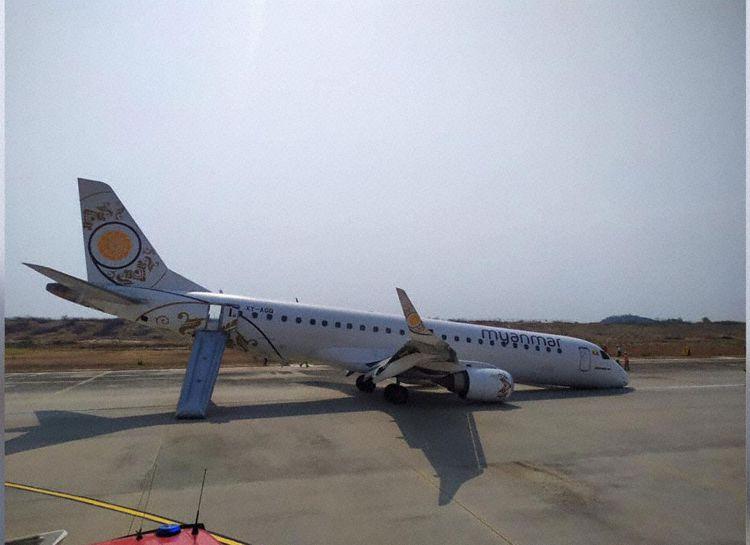 Myanmar Embraer 190 Incidente Pouso sem trem de nariz