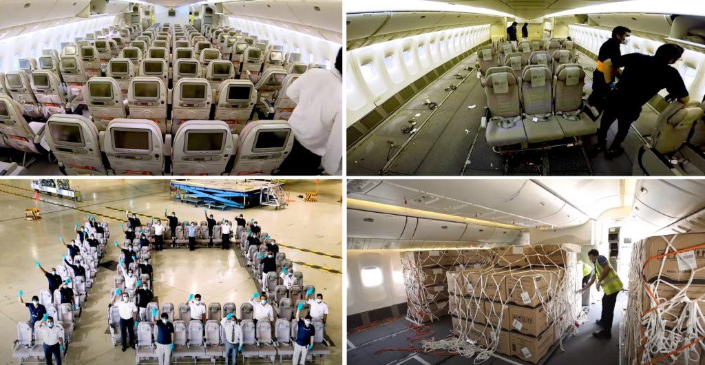 Vídeo Emirates modificação assentos cabine Boeing 777-300ER carga