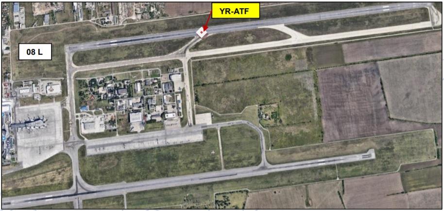 Posição final ATR 42 TAROM Pneus estourados pouso