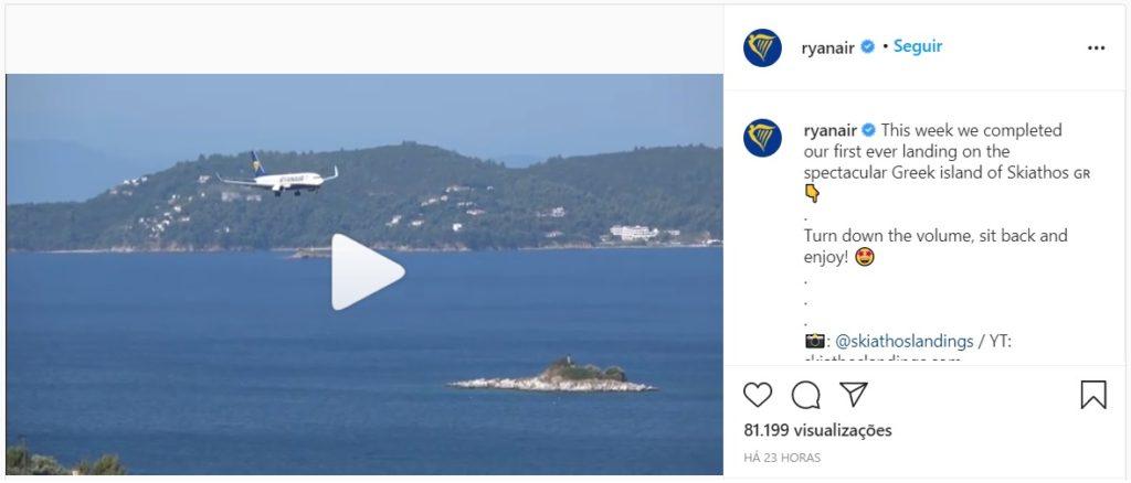 Instagram Ryanair Vídeo Pouso Skiathos Grécia