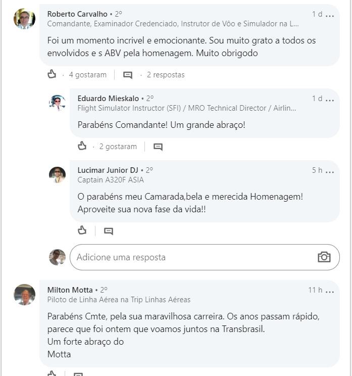 Linkedin Comandante Roberto Carvalho Agradecimento